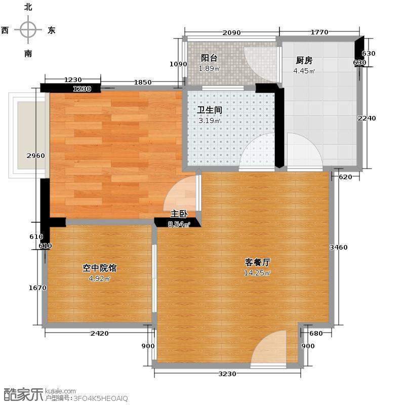 环山国际36.97㎡13号楼3号房+空中院馆户型1室2厅1卫
