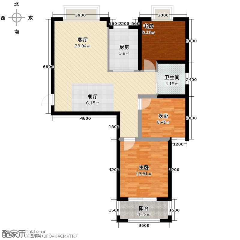 华瑞湘湖美地108.00㎡23、24号楼H1户型3室1厅1卫1厨