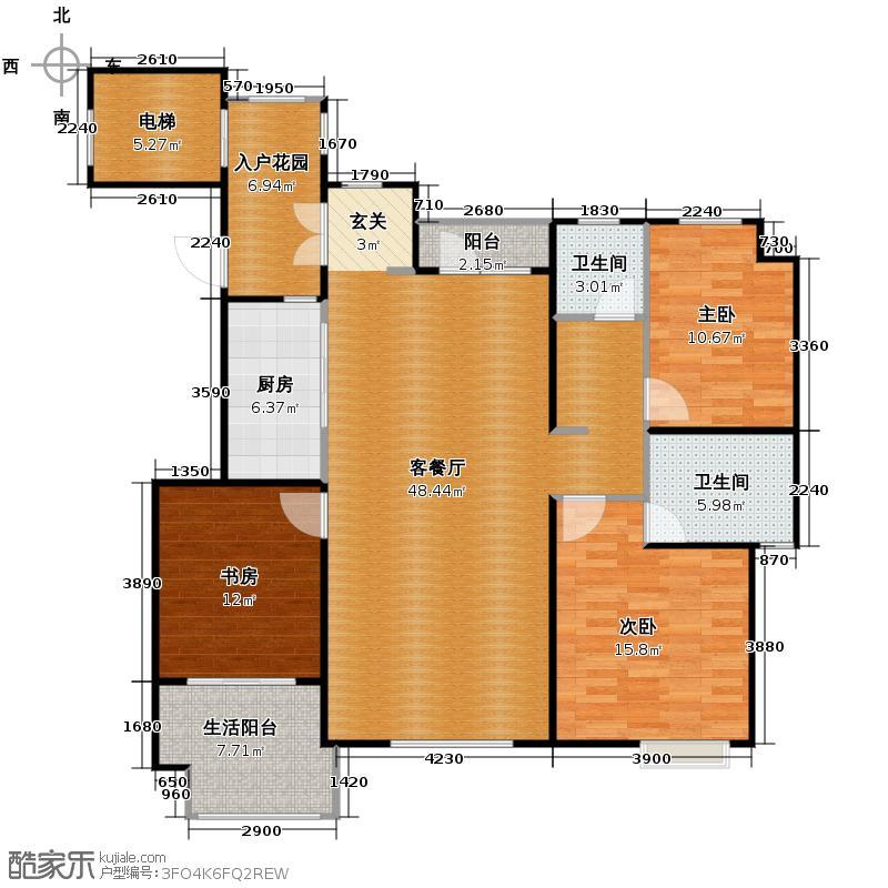 蓝湖郡135.00㎡A7户型3室2厅2卫