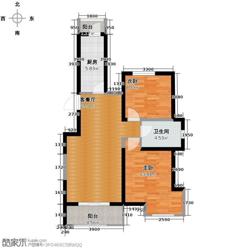金地国际花园73.39㎡户型2室1厅1卫1厨