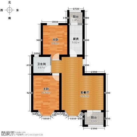 宝境栖园2室1厅1卫0厨90.00㎡户型图