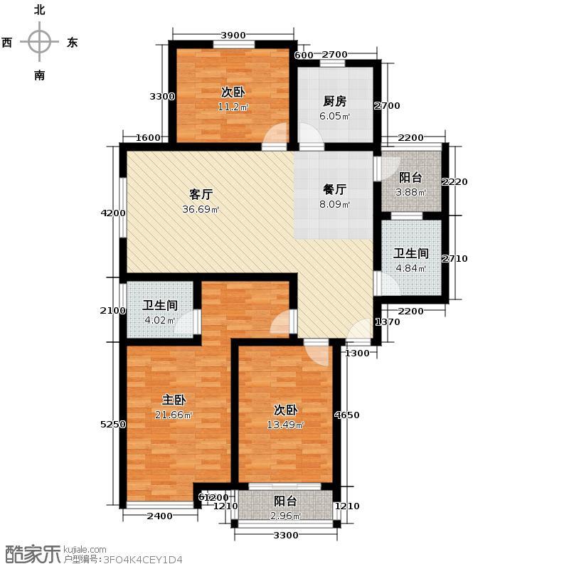 青城嘉园126.03㎡户型3室1厅2卫1厨