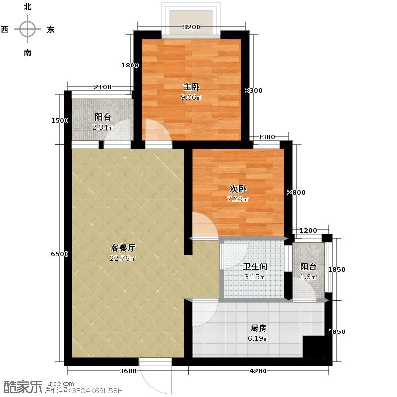 龙湖春森彼岸67.00㎡B2单卫户型2室2厅1卫
