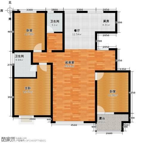 亿利傲东国际3室2厅2卫0厨140.00㎡户型图
