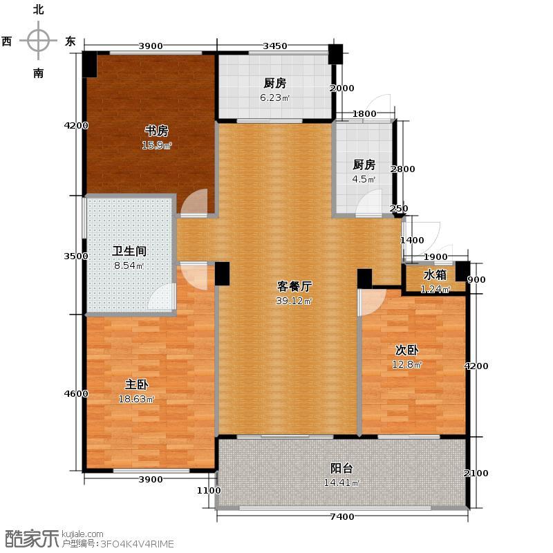 绿城玉园162.00㎡M3户型3室1厅1卫2厨