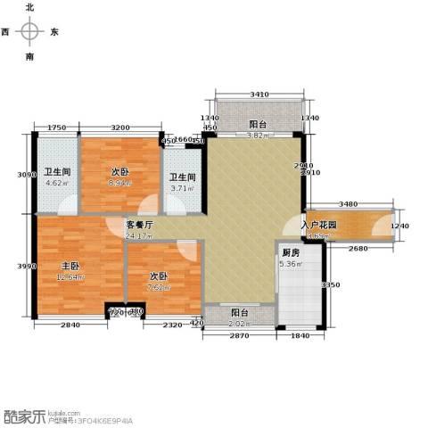 南沙创鸿汇3室2厅2卫0厨106.00㎡户型图