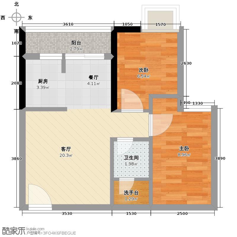 玫瑰铂金公馆65.00㎡2座04户型2室2厅1卫