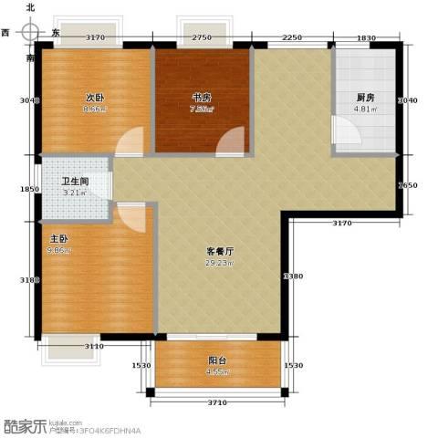 湾仔城3室1厅1卫1厨93.00㎡户型图