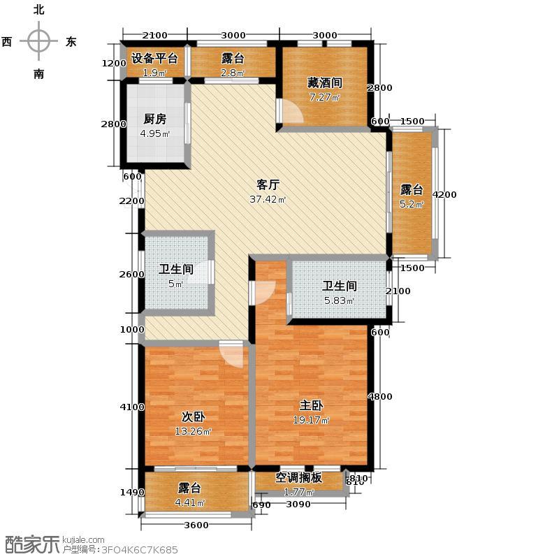 千岛湖七星花园212.00㎡B-5一层户型5室2厅4卫