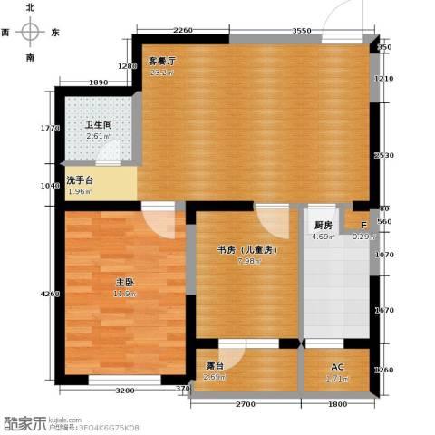 钓鱼台七号1室1厅1卫1厨77.00㎡户型图