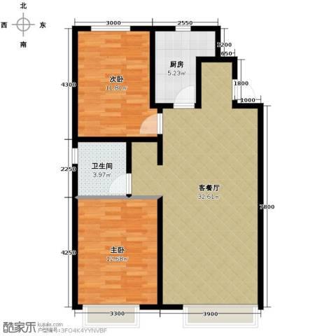 万科城2室1厅1卫1厨90.00㎡户型图