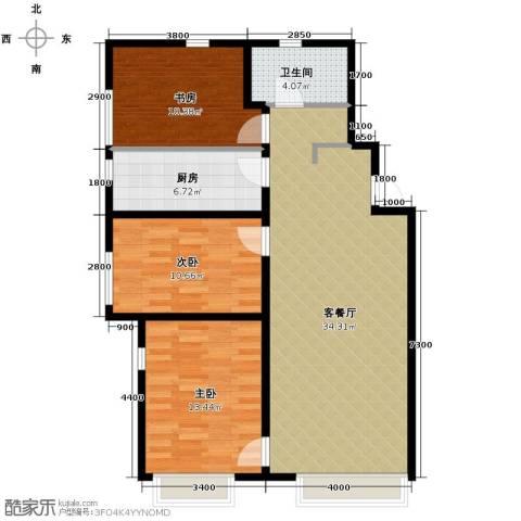 万科城3室1厅1卫1厨115.00㎡户型图