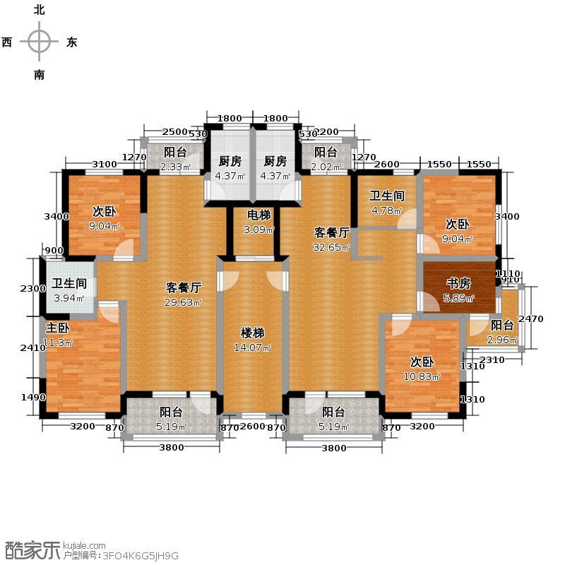 九洲湾景汇99.00㎡D1/D2/D3标准层户型5室2厅2卫2厨