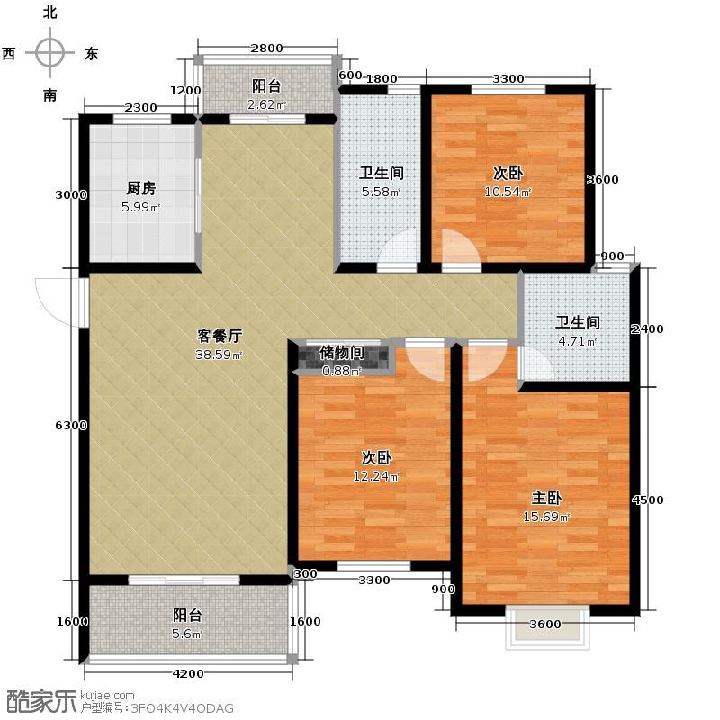 广大同城印象114.83㎡G(售完)户型3室1厅2卫1厨