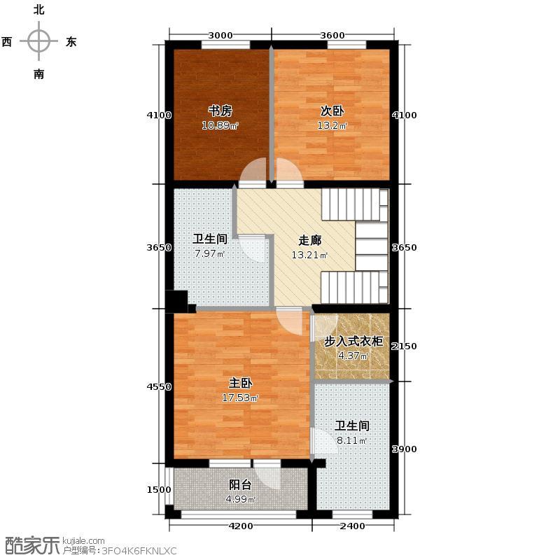 大运河孔雀城91.08㎡二期C二层户型10室