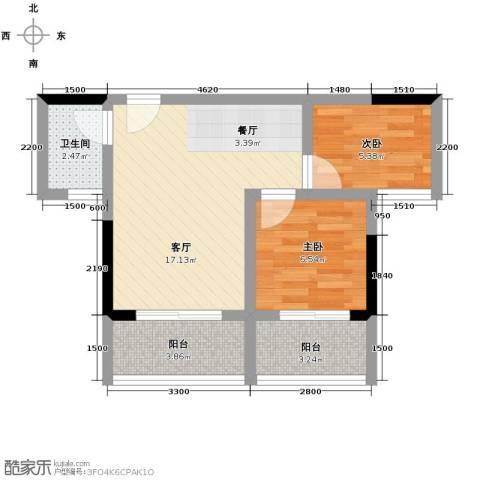 海逸卡拉公寓2室1厅1卫0厨65.00㎡户型图