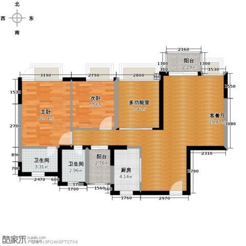 丰泰东海城堡3室2厅2卫0厨90.00㎡户型图