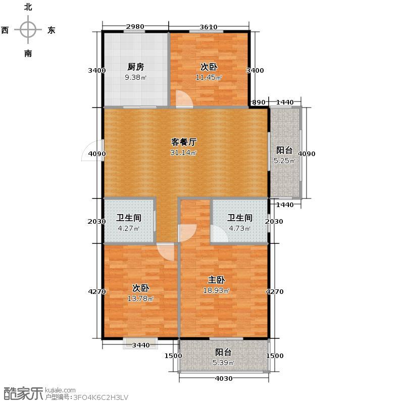 集美岸上蓝山119.34㎡C6户型3室2厅2卫