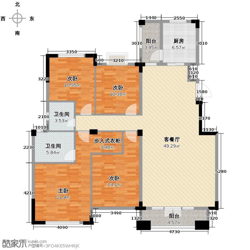 中旅国际小镇德邑150.00㎡东组团D-2户型4室1厅2卫1厨