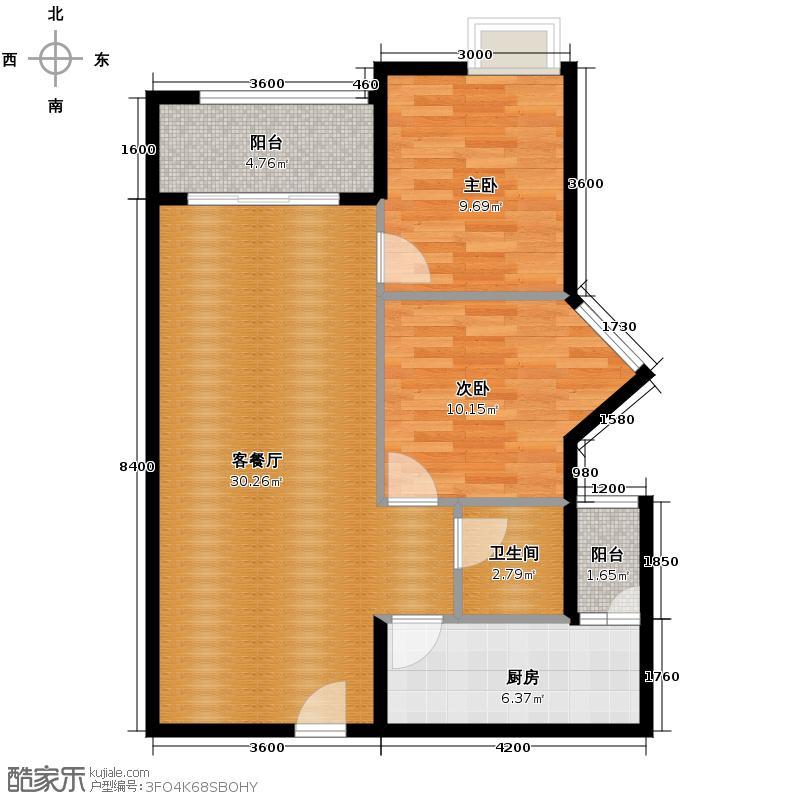富力城67.00㎡E6栋3号户型2室2厅1卫