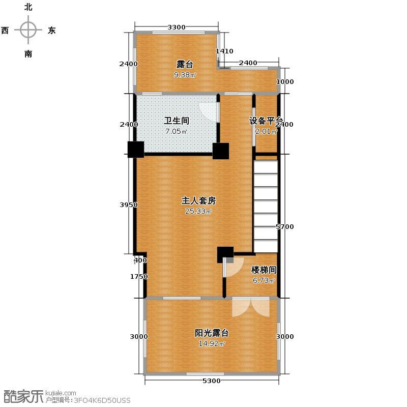 何桥润园252.00㎡图为双拼别墅三楼户型7室3厅3卫