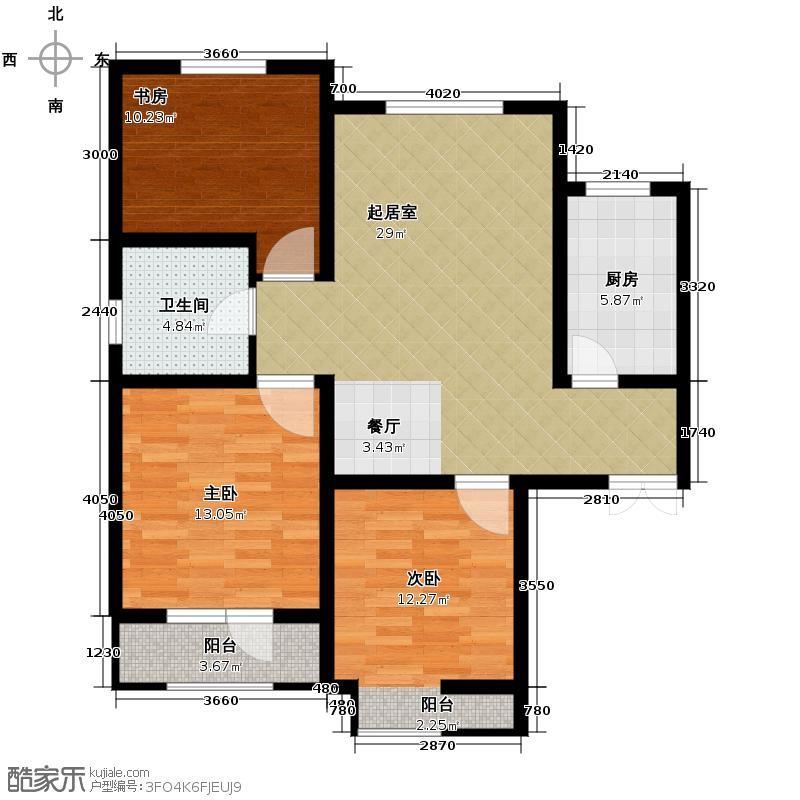 凤河・孔雀英国宫108.17㎡14、17号楼户型3室2厅1卫