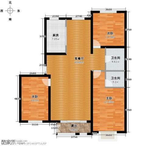 大学时光3室2厅1卫0厨139.00㎡户型图