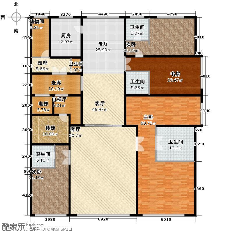 西山壹号院642.00㎡三期C2地下一层户型3室2厅3卫