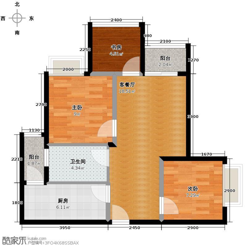 蓝光COCO金沙65.00㎡B3户型3室1厅1卫1厨
