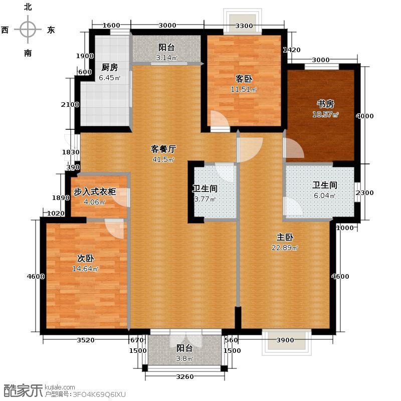 路劲太阳城166.00㎡洋房E标准层户型4室2厅2卫