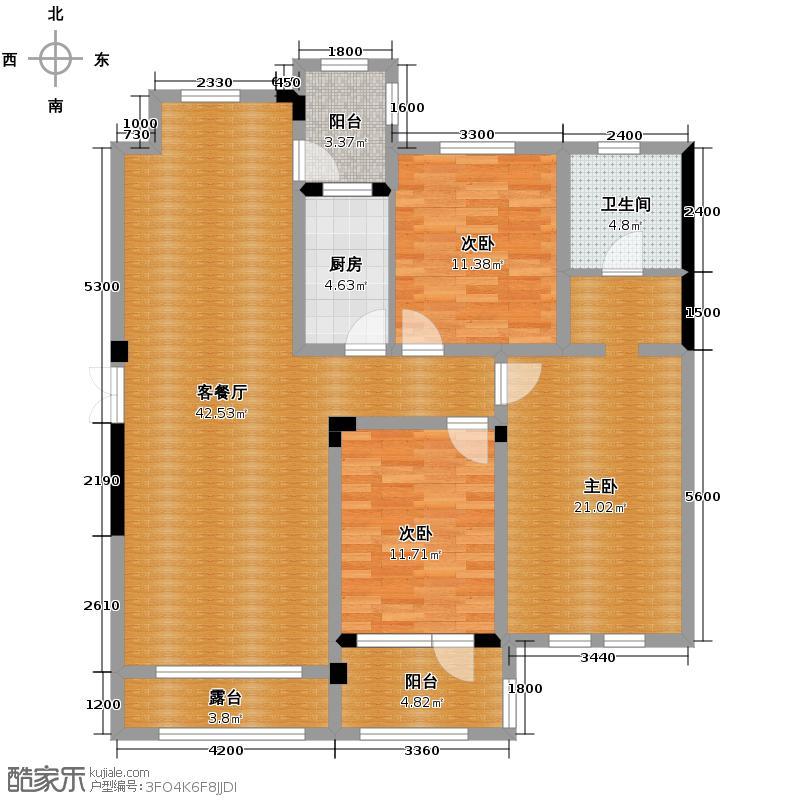 力旺塞歌维亚123.76㎡户型3室1厅1卫1厨