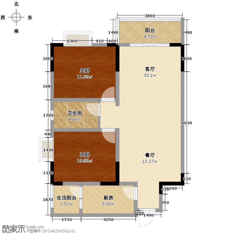 龙潭湾广场88.72㎡A3户型2室1厅1卫1厨