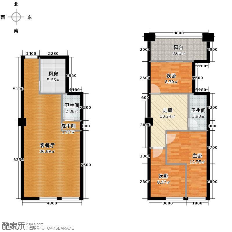 海唐星119.00㎡A-03户型3室1厅2卫1厨