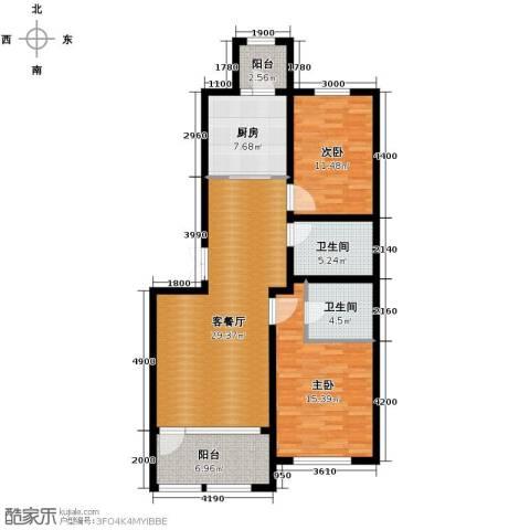 群力玫瑰湾2室1厅2卫1厨83.20㎡户型图