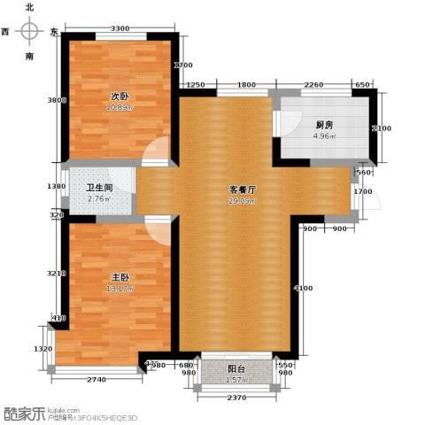 双发金玺城2室2厅1卫0厨90.00㎡户型图