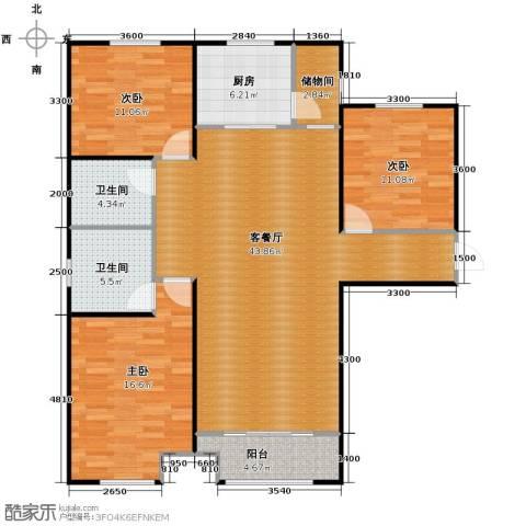 中海外滩3室2厅2卫0厨133.00㎡户型图