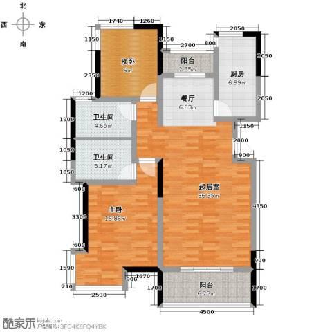 卓达・太阳城2室2厅2卫0厨120.00㎡户型图