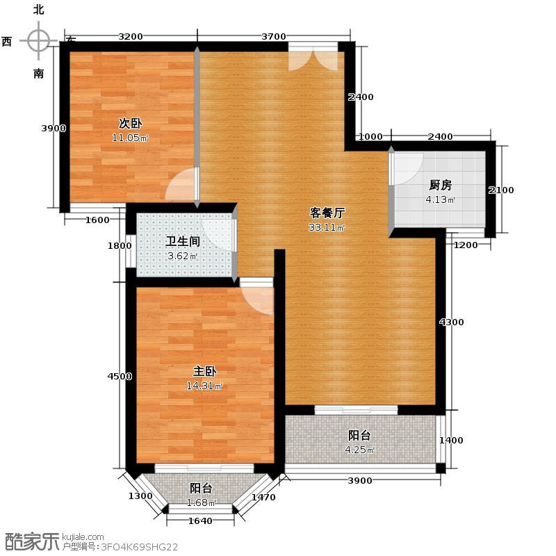 海伦铂郡98.23㎡B-1C-1户型2室2厅1卫
