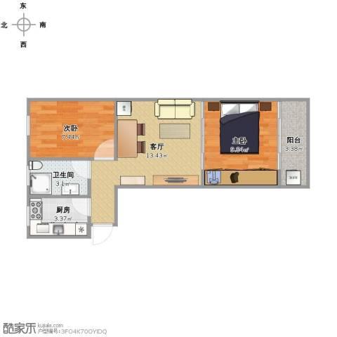 龙华机场新村2室1厅1卫1厨55.00㎡户型图