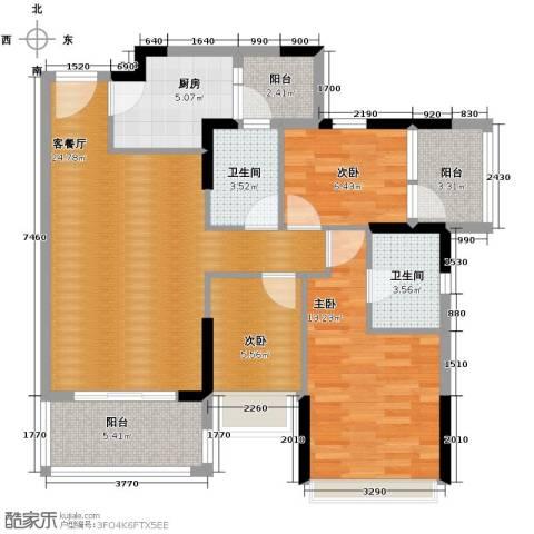 和黄懿花园3室2厅2卫0厨89.00㎡户型图
