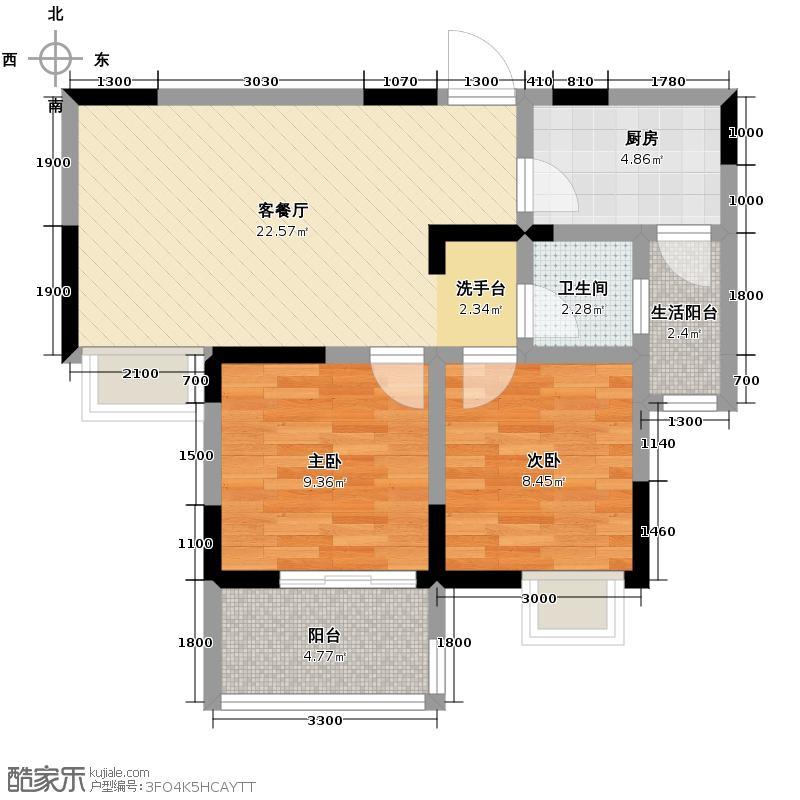空港首座76.00㎡B6户型2室1厅1卫1厨