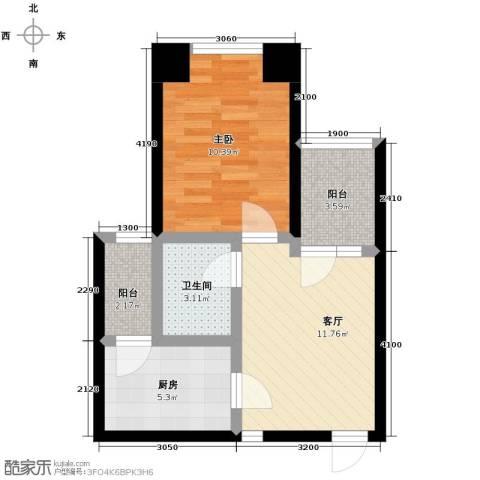 保利天玺1室1厅1卫0厨49.00㎡户型图