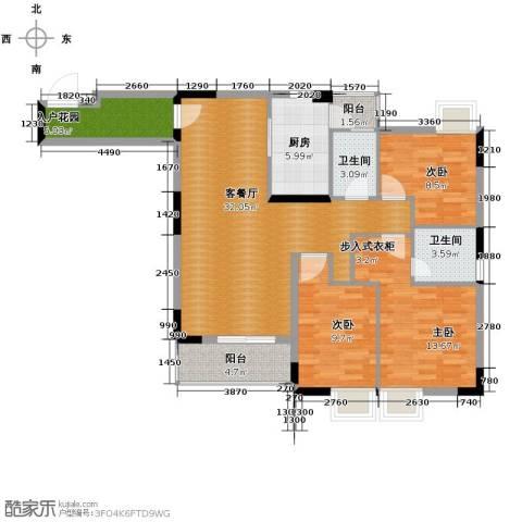 三正世纪豪庭3室1厅2卫1厨124.00㎡户型图
