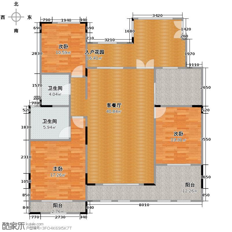 力帆枫樾122.60㎡一期标准层B4户型2室2卫1厨