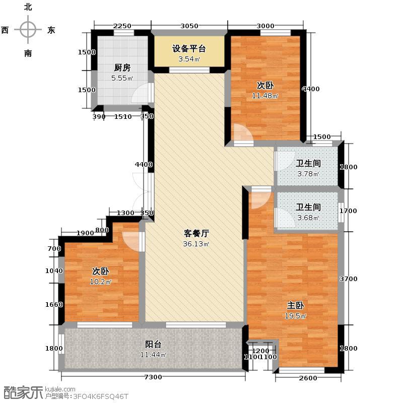 佳源名人公馆136.00㎡F户型3室