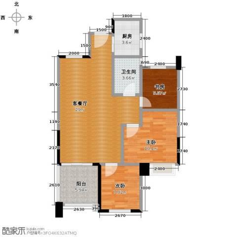 北景园荷风苑3室1厅1卫1厨91.00㎡户型图