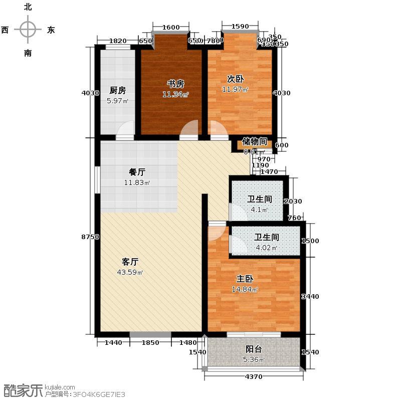 三泰茗居135.62㎡H户型3室2厅2卫