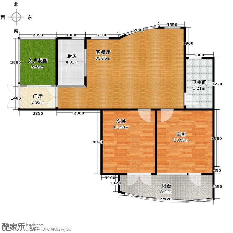 玉兰公寓86.00㎡2-16层户型2室1厅1卫1厨