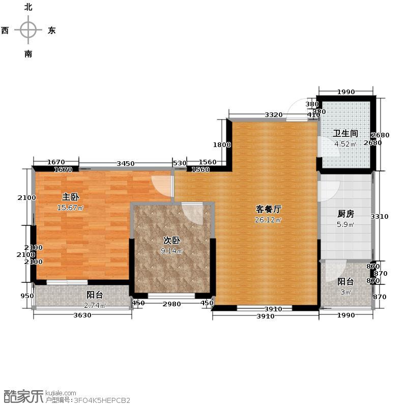 格调艺术领地74.10㎡1-2-3号楼户型2室1厅1卫