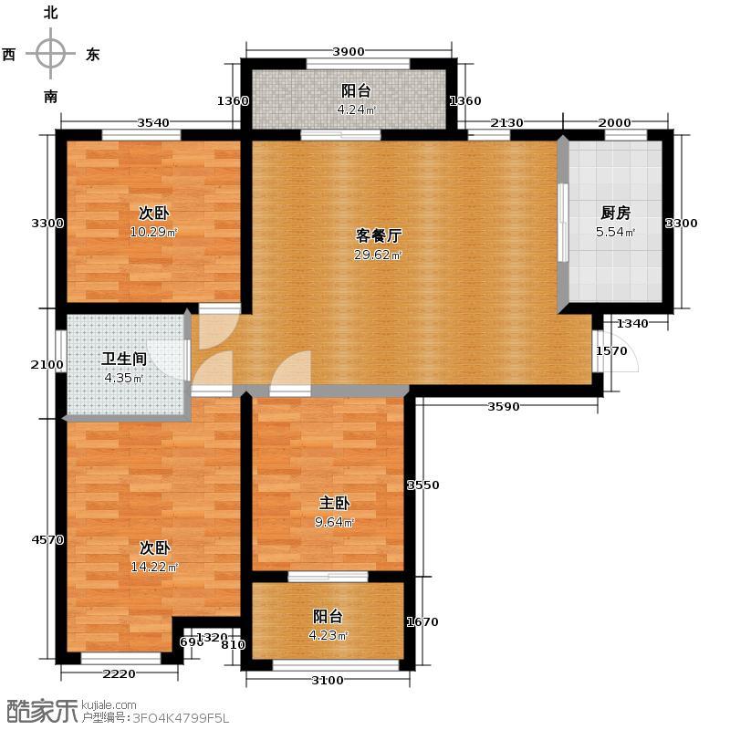 恒盛豪庭92.88㎡1户型3室1厅1卫1厨